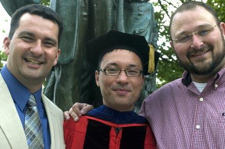 Sean, Ed and Joe in front of Ezra.