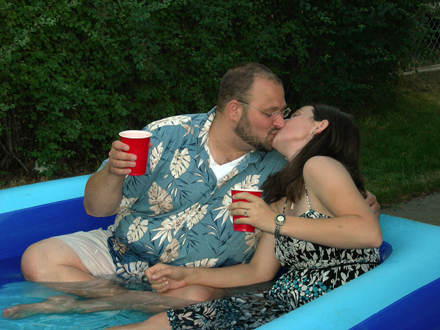 Us in a tub…what can I say, it was hot!